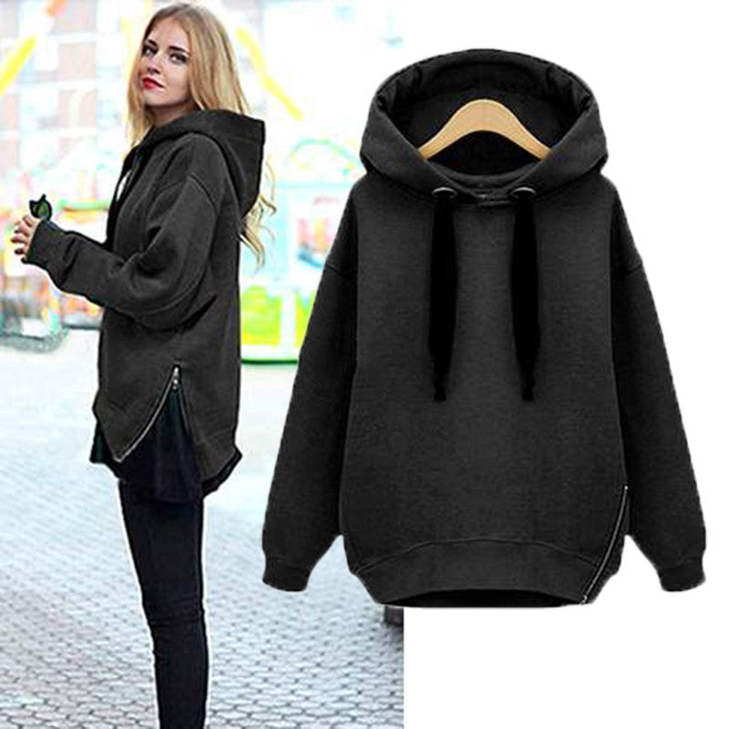 Women Casual Hoodies Blouse Long Sleeve Soild Spring Girls Hooded Sweatshirts Pullover Tops