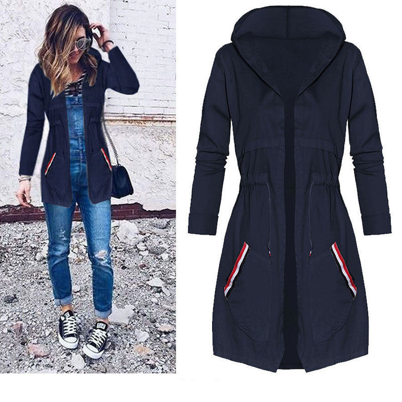 2018 Basic Hooded Waterproof Jacket Women Long Sleeve Windbreak Solid Hoodies Outwear Casual Coat