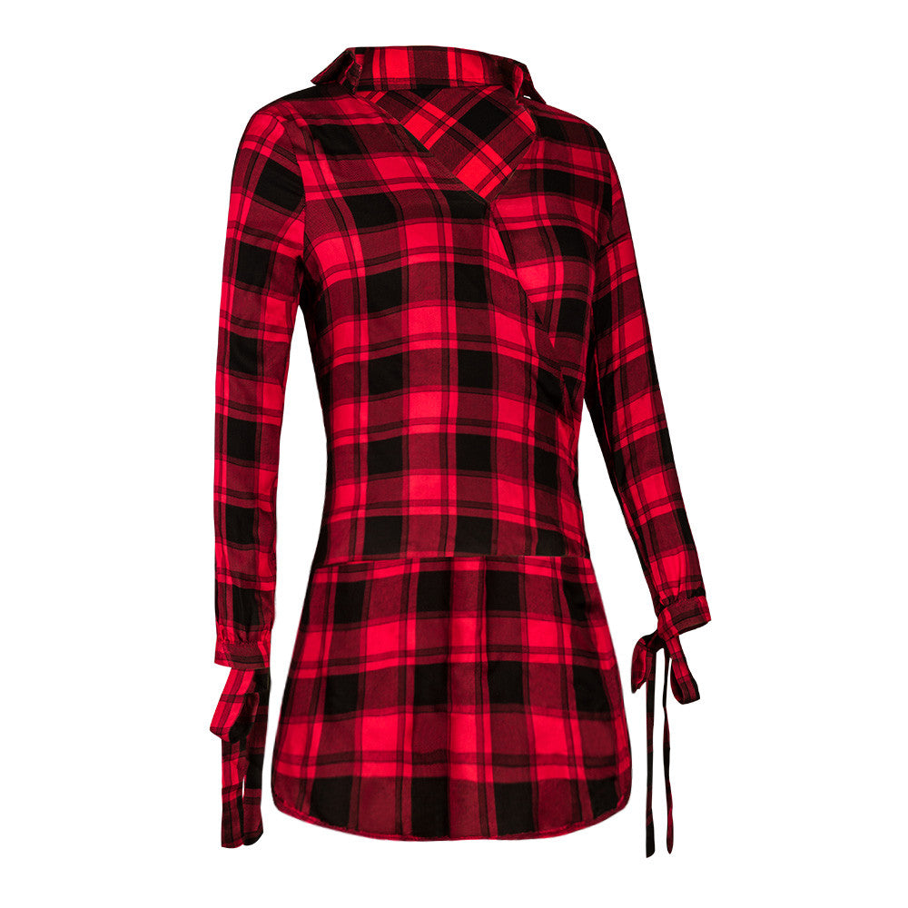 Irregular Red Plaid Polo Shirts Women Long Sleeve Girls Casual Shirt Irregular Button Blouse