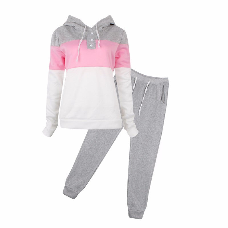 New Long Sleeve Patcwork Top Pants 2 Piece Sets Women Tracksuit Sportswear Hoodies Sweater Sporting Suit Women