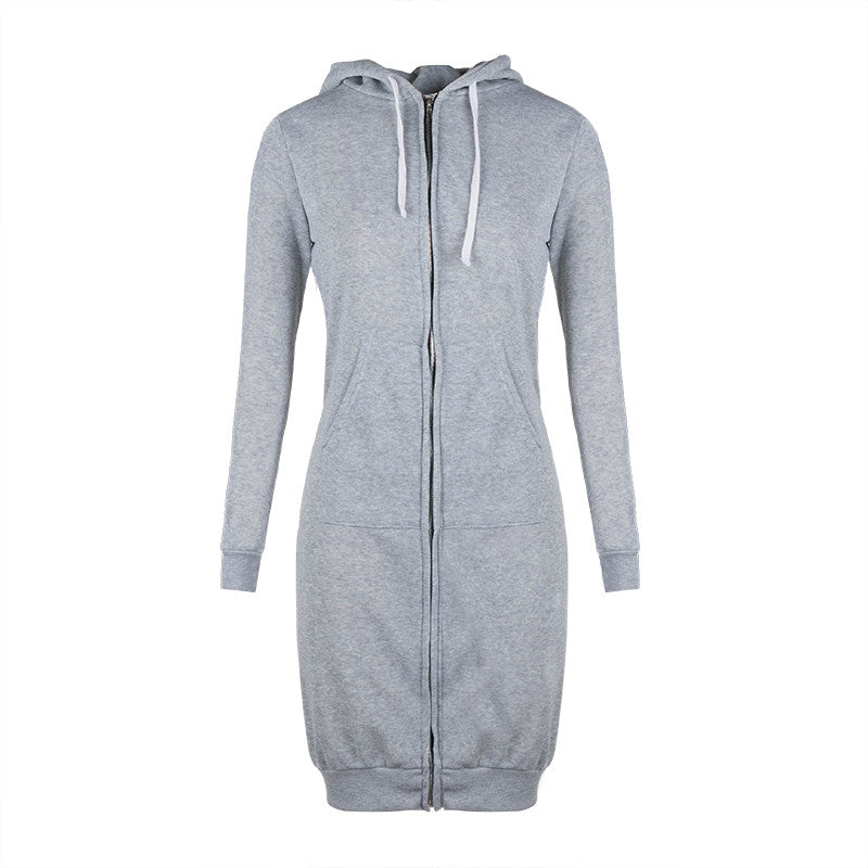 Plus Size Spring Zip-up Cardigan Long Sleeve Hoodies Coat Women  Solid Casual Hooded Pocket Jumper Jacket
