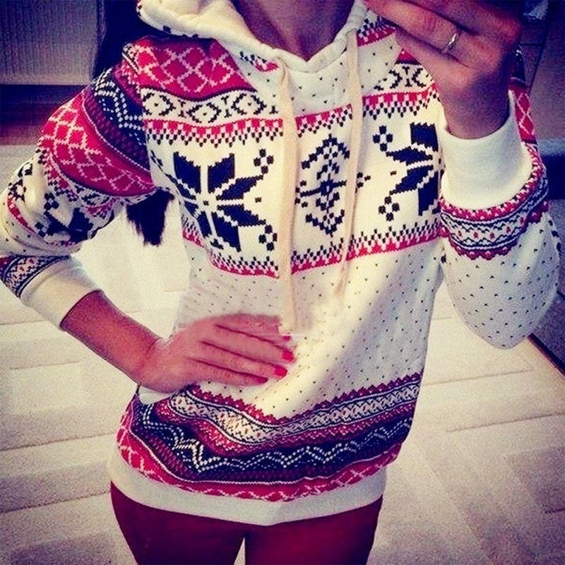 Spring Girls Printed Pullover Hoodies Sweatshirts Jumper Women Casual Long Sleeve Hooded Tops