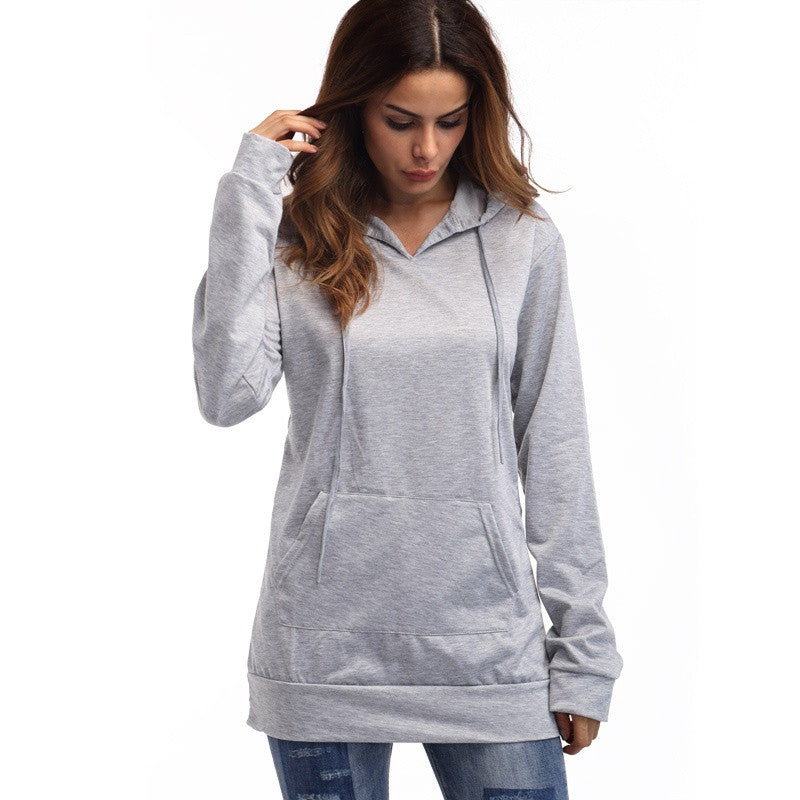 Pullovers Hoodies Sweatshirts with Cap and Pocket 2018 Spring Solid Color Cotton Long Sleeve Tunic Tracksuit