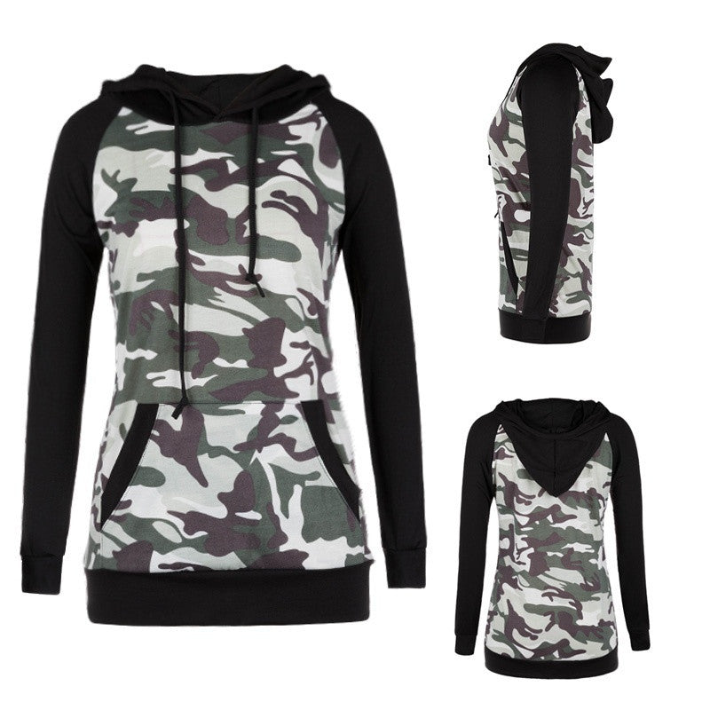 2018 Camouflage Hoodies Tops Spring Women Camo Fleece Pullover Hooded Sweatshirts Hip Hop Swag Cotton Streetwear