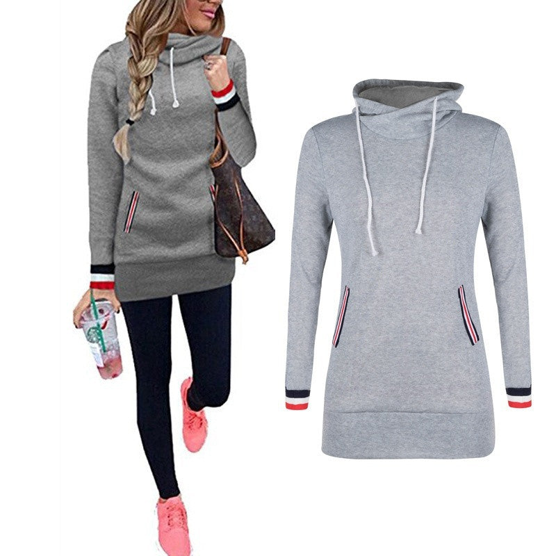 Spring Women Long Sleeve Hooded Tops Casual Bodycon Hoodie Blouse Pullover Long Hoodies Sweatshirts