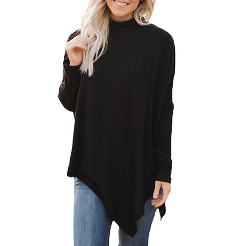 Fashion Spring Women Tops High Neck Sweater Irregular Hem Batwing Blouse Long Sleeve Loose Knitwear Pullover Shirts