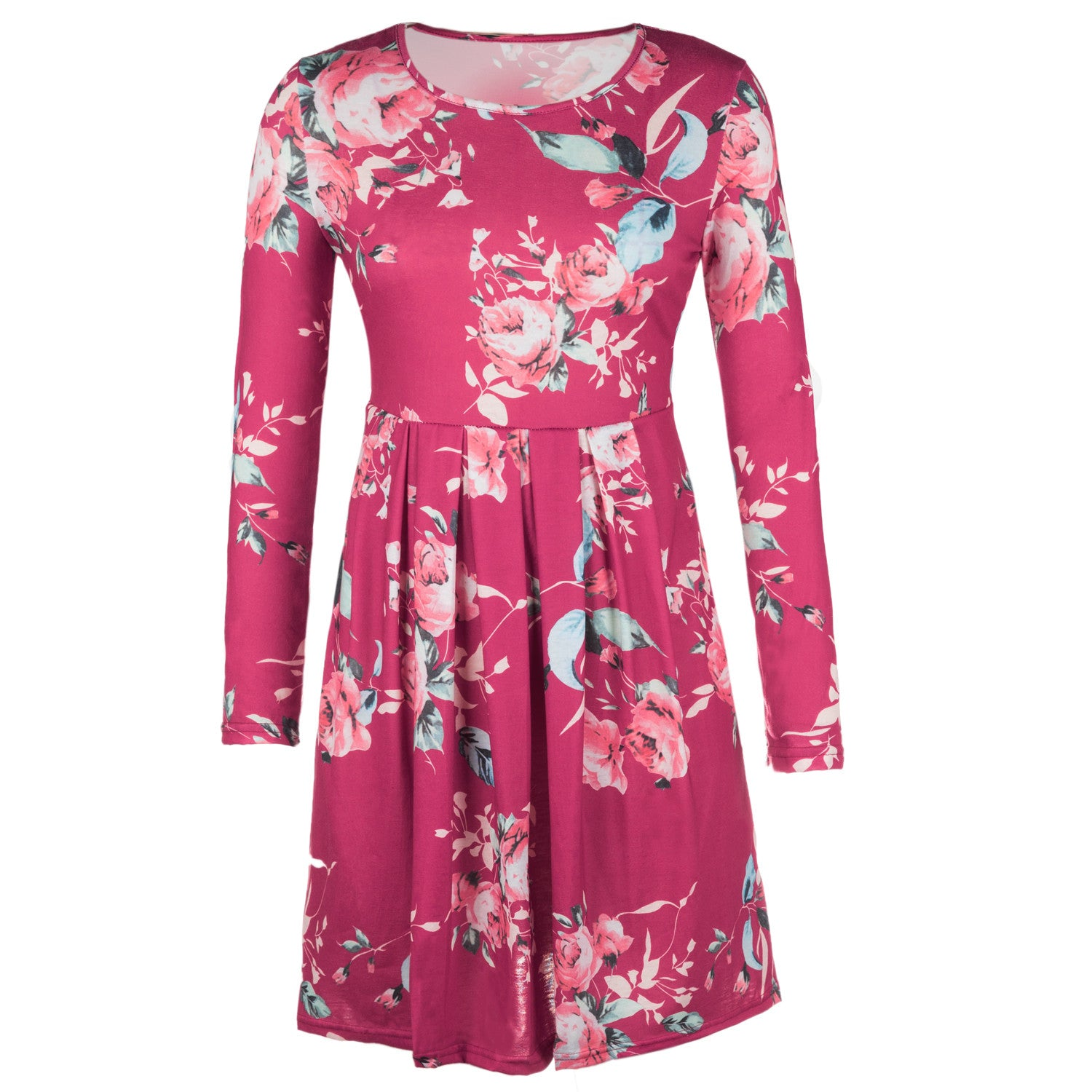 Mini Dresses O Neck Floral Printed Knee-length Dress 2018 Women Long Sleeve Ladies Dresses