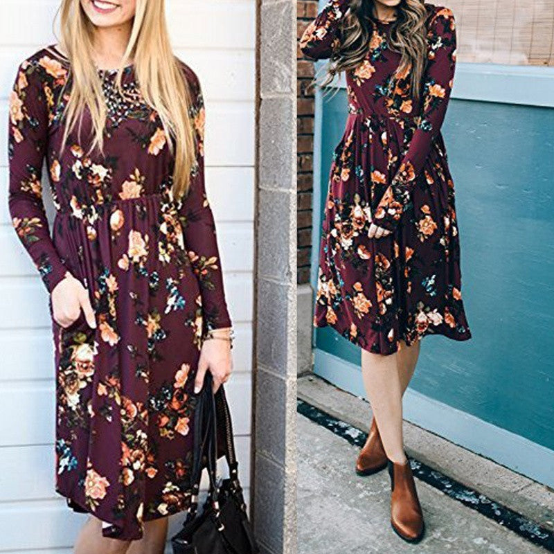 Women Boho Floral Print O-neck Dress Spring Casual Cocktail Long Sleeve Loose Knee Length Dress