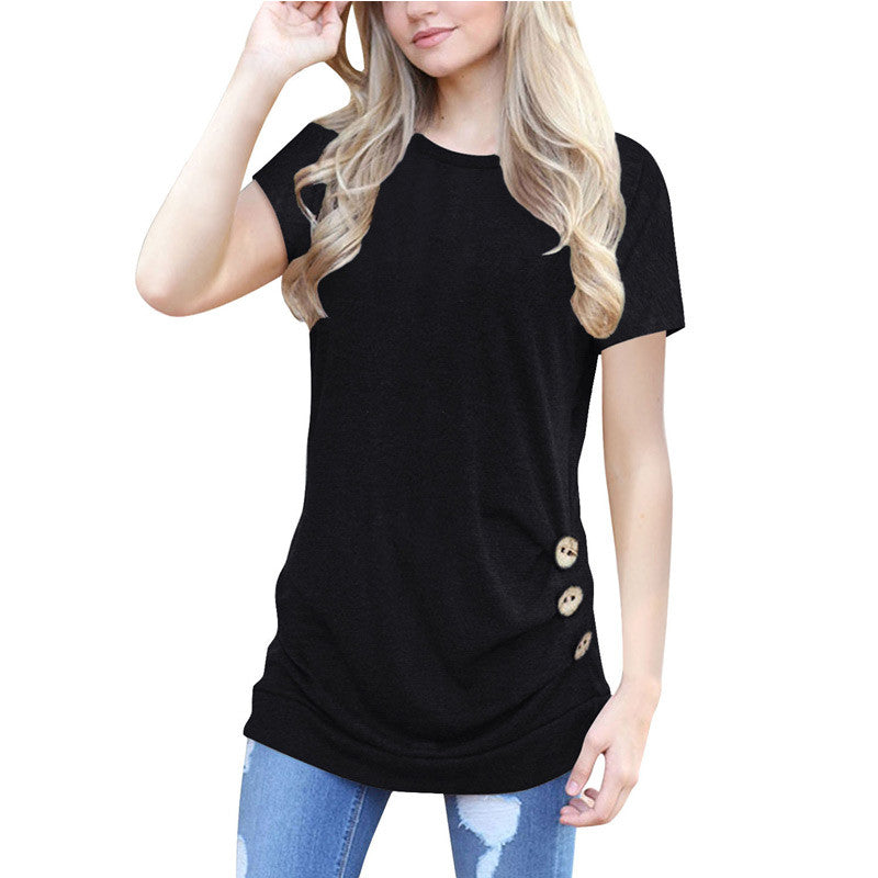 Summer Short Sleeve Pullover Shirts Patchwork Sweatshirt Blouse Casual Loose Button Side Tunic Tops for Women
