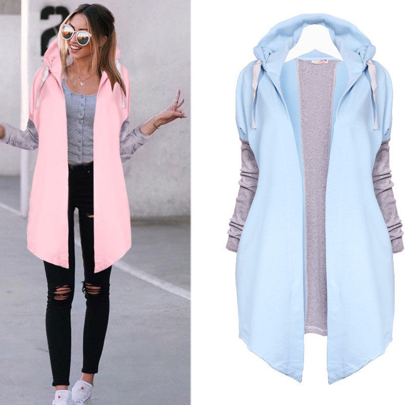 Spring Women Black Tunic Cardigan Coat Long Sleeve Hoodies Jacket Zipper Hooded Outerwear