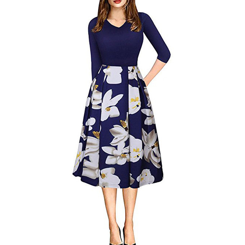 Girls Summer Flower Dress Business Office Ladies Work Dresses Floral Print A-line Dresses for Women