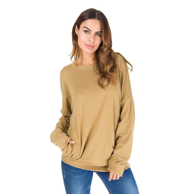 Women Plus Size Basic Blouse Pullover Shirt Casual Tunic Black Pocket Tee Long Sleeve Loose Tops