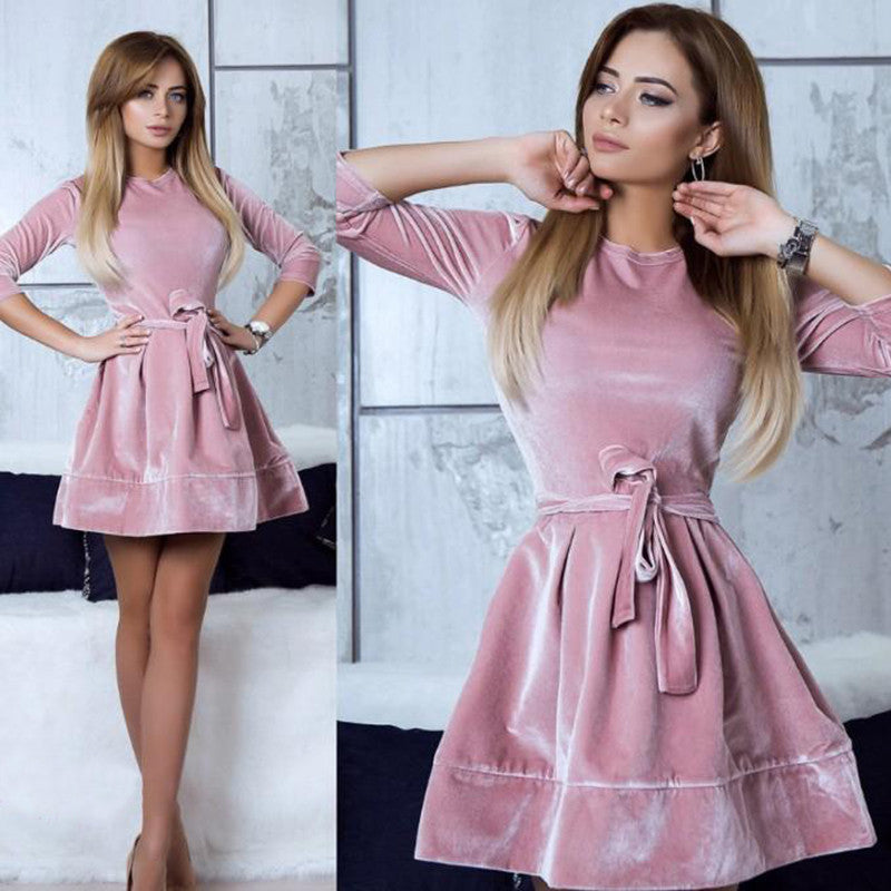 O-Neck Women Long Sleeve Dress Party Mini Dress Sexy Slim Spring Girls Evening Dresses