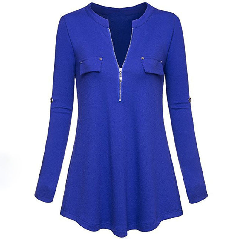 Blouse Casual Spring Womens Long Sleeve Pullover Shirt Zipper Deep V Neck Ladies Tops