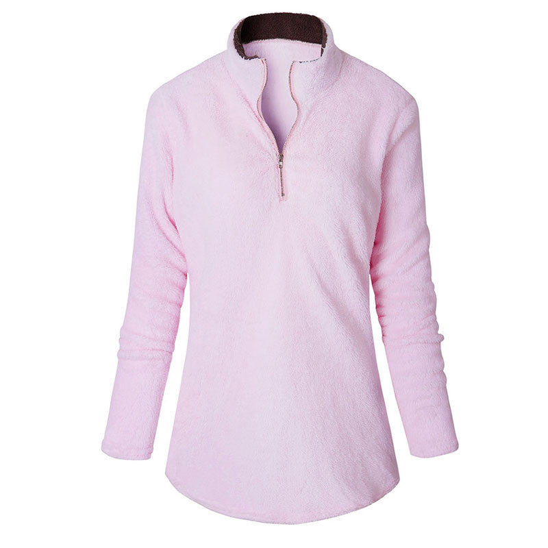 Fleece Velvet Women Sweatshirt Long Sleeve Pullover Tops Girls Spring Cute Blouse T-shirt