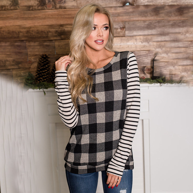 Women's Casual Loose Plaid Tunic Tops for Women Long Sleeve Striped Color Block Blouse for Women