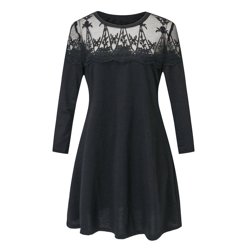Plus Size Lace Patchwork Long Sleeve Vestidos Women Spring 2018 Casual O Neck Tunic Loose Dress