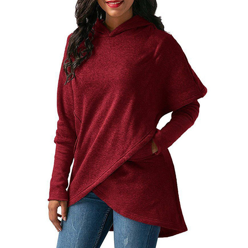 Women Irregular Hoodie Sweatshirt Plus Size T-shirt Spring Pullover Blouse Loose Hooded Jumper Tops