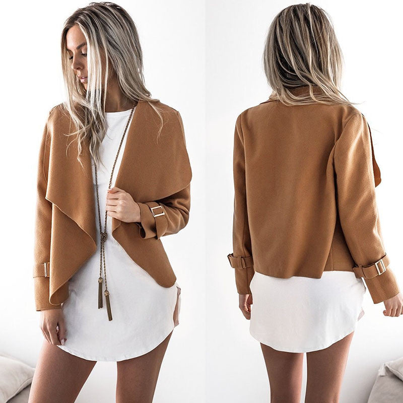 2018 Spring Women Jackets Cardigan Casual Basic Jacket Solid Shawl Collar Outerwear Coat for Girls