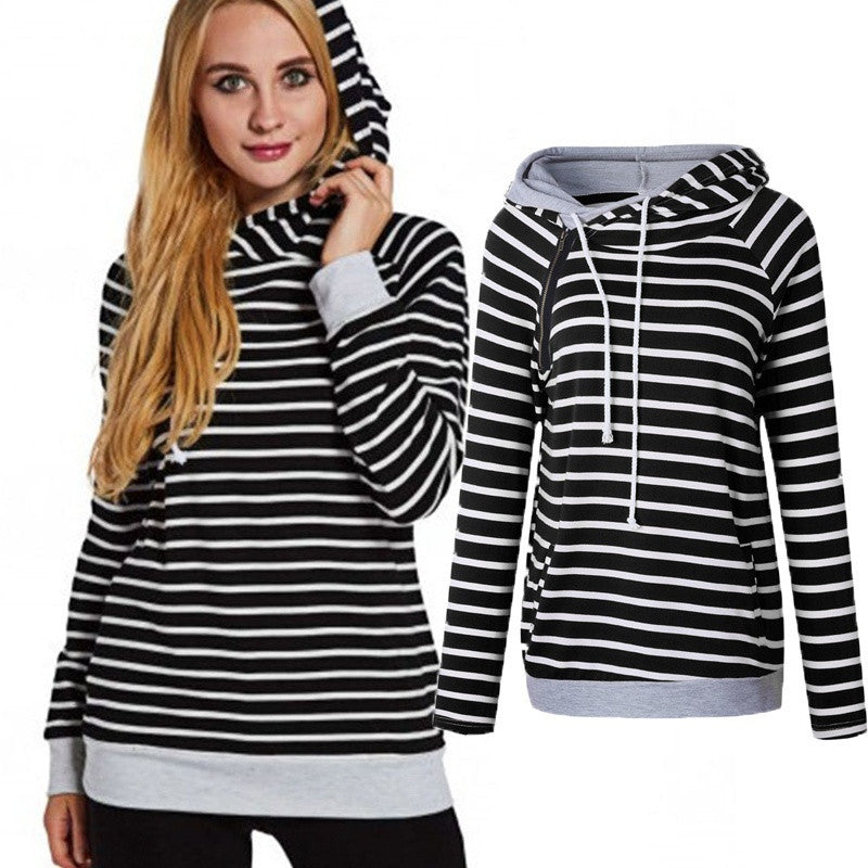 Bursts Stripes Stitching Hooded Sweatshirt Casual Women's Hoodies Blouse Pocket Plus Size Tops
