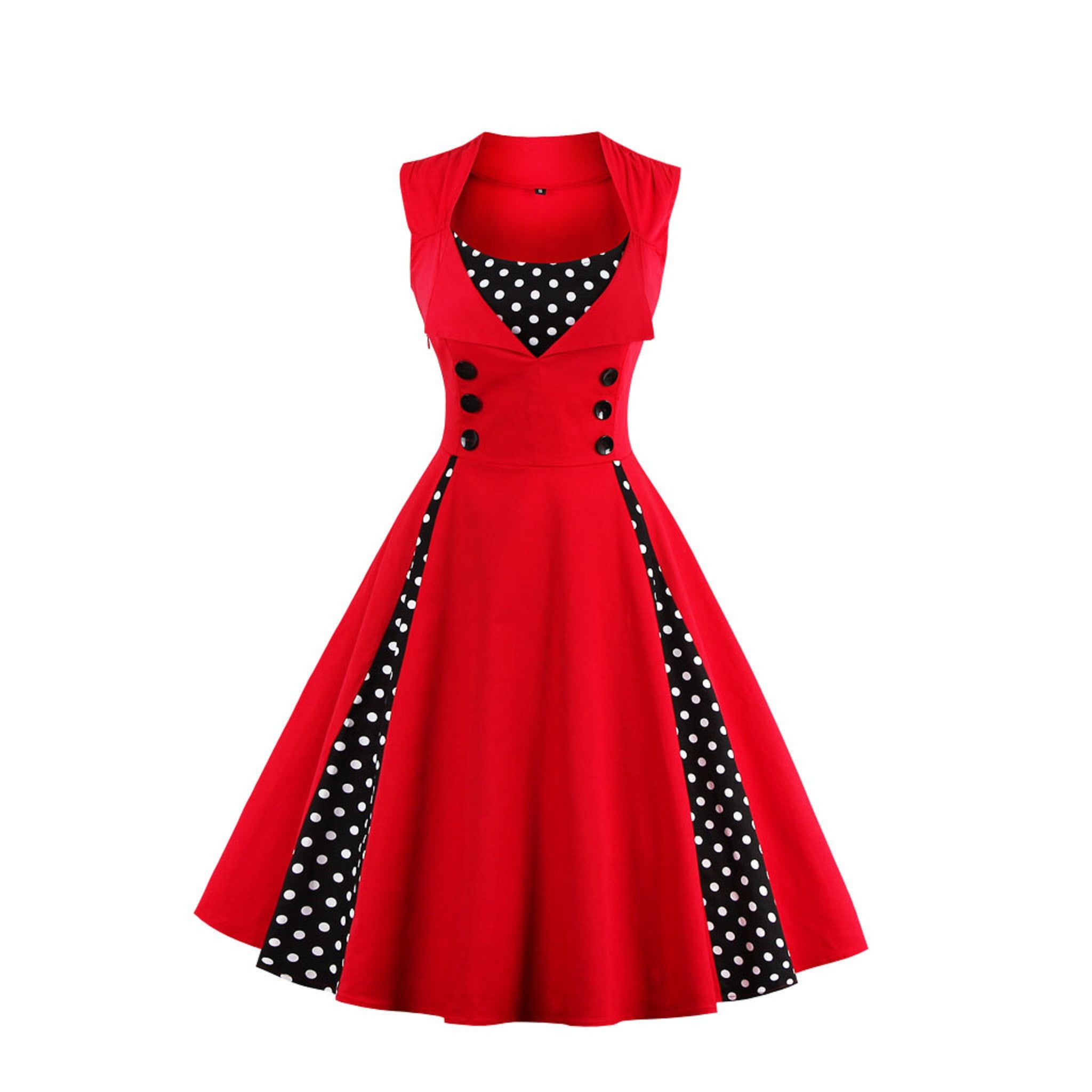Summer Girls Sleeveless Evening Party Red Dresses Women Rockabilly Retro Dot Vintage Vest Dress