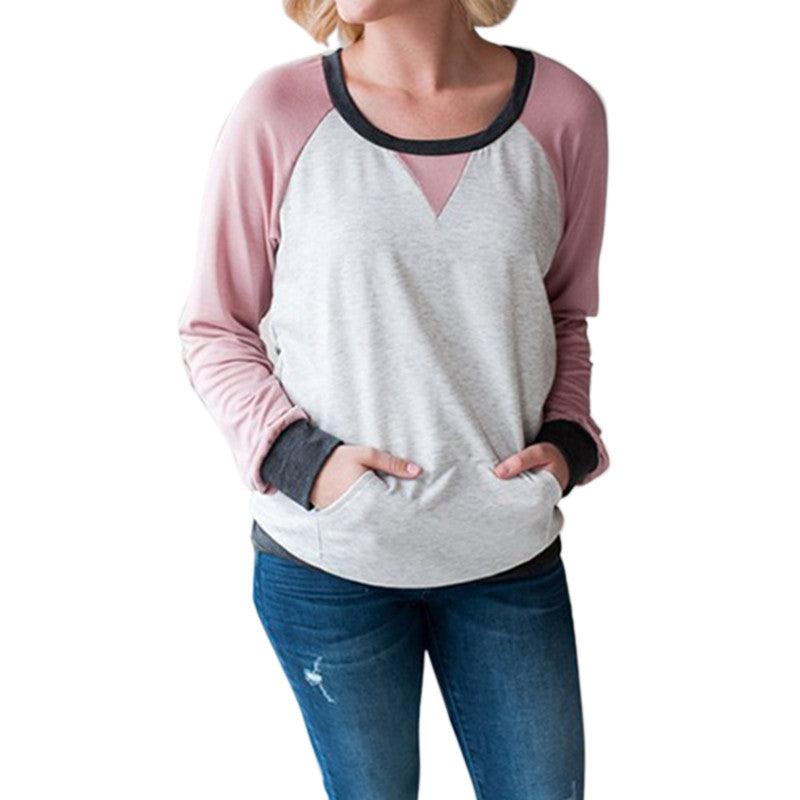 Plus Size Female O-Neck Long Sleeve Tees Casual Pocket Patchwork Tops 2018 Spring Women Pullover Blouse