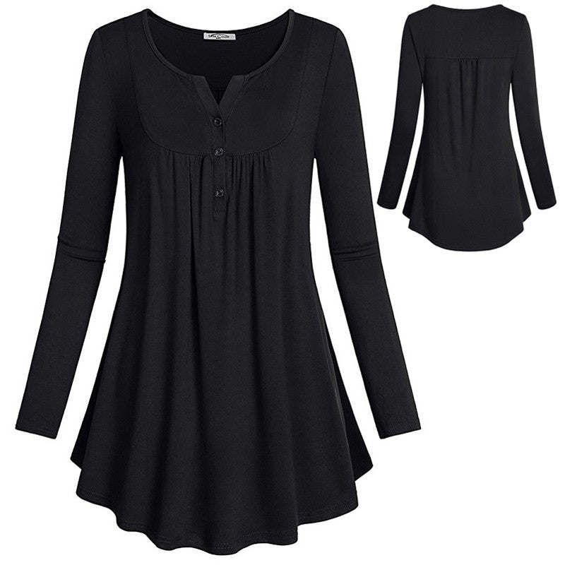 Women Long Sleeve Tops Loose Spring Pullover Tunic Blouse Black Girls Casual Tee for Woman