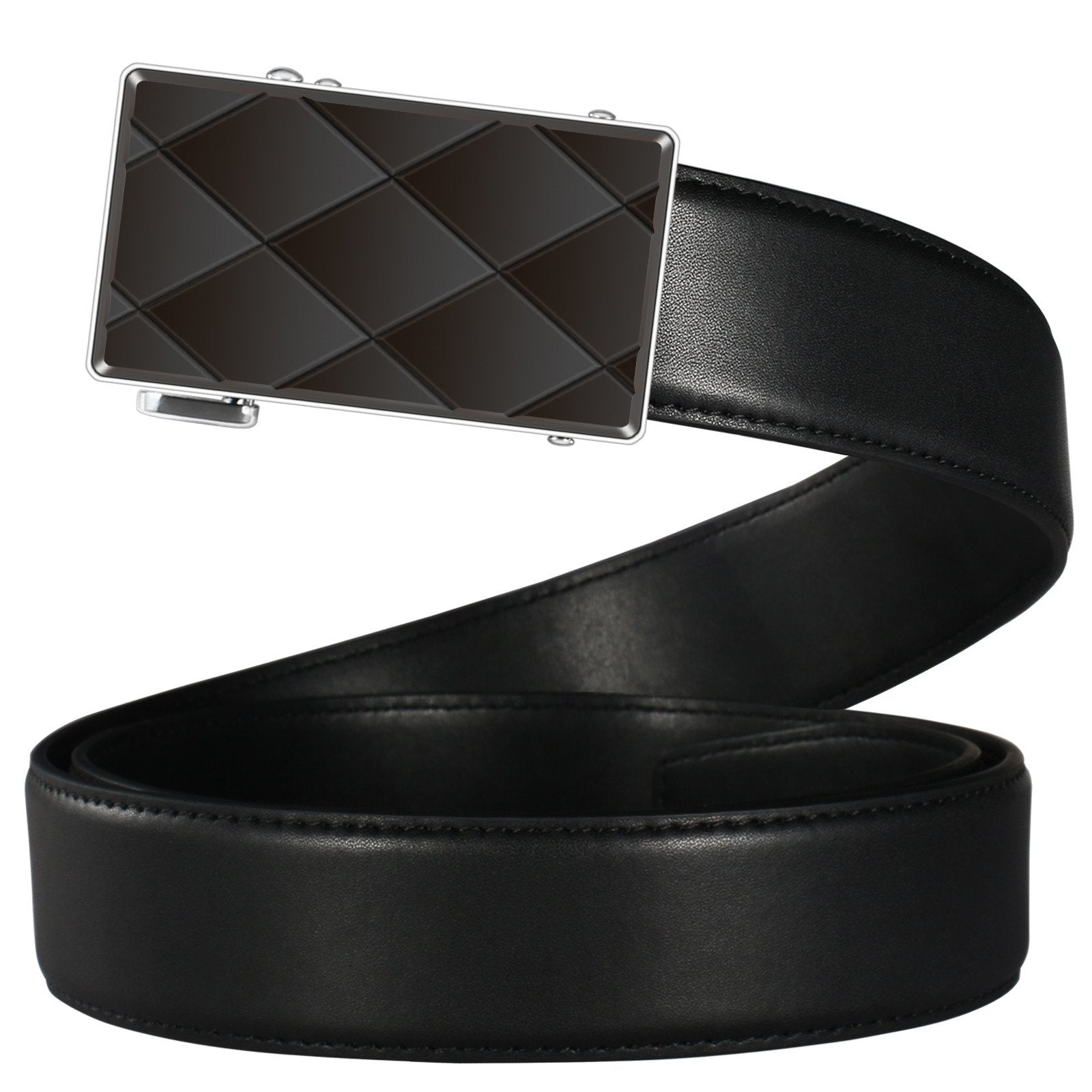 Ratchet Belts For Men Big And Tall Leather Belts Silver Buckle With 3D Three-Dimensional design