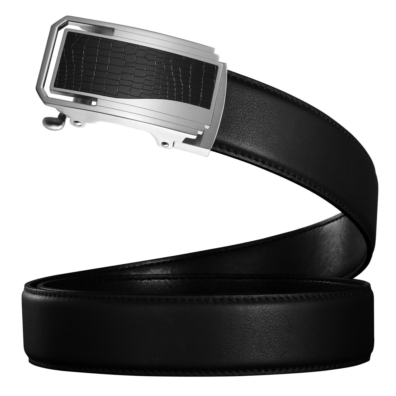 Mens Black Genuine Leather Ratchet Belts Stainless Steel Automatic Buckle Adjustable