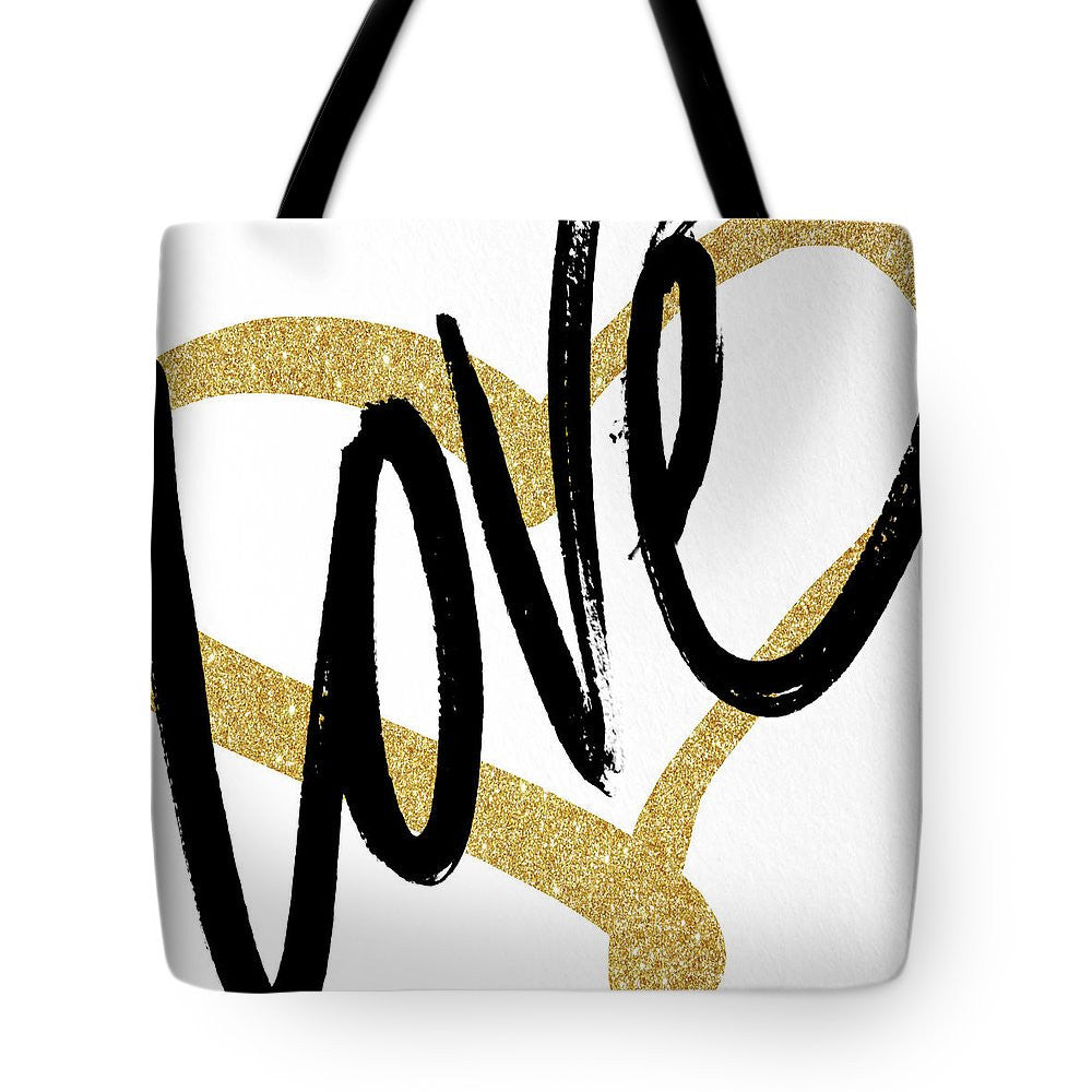 Gold Heart Black Script Love Tote Bag