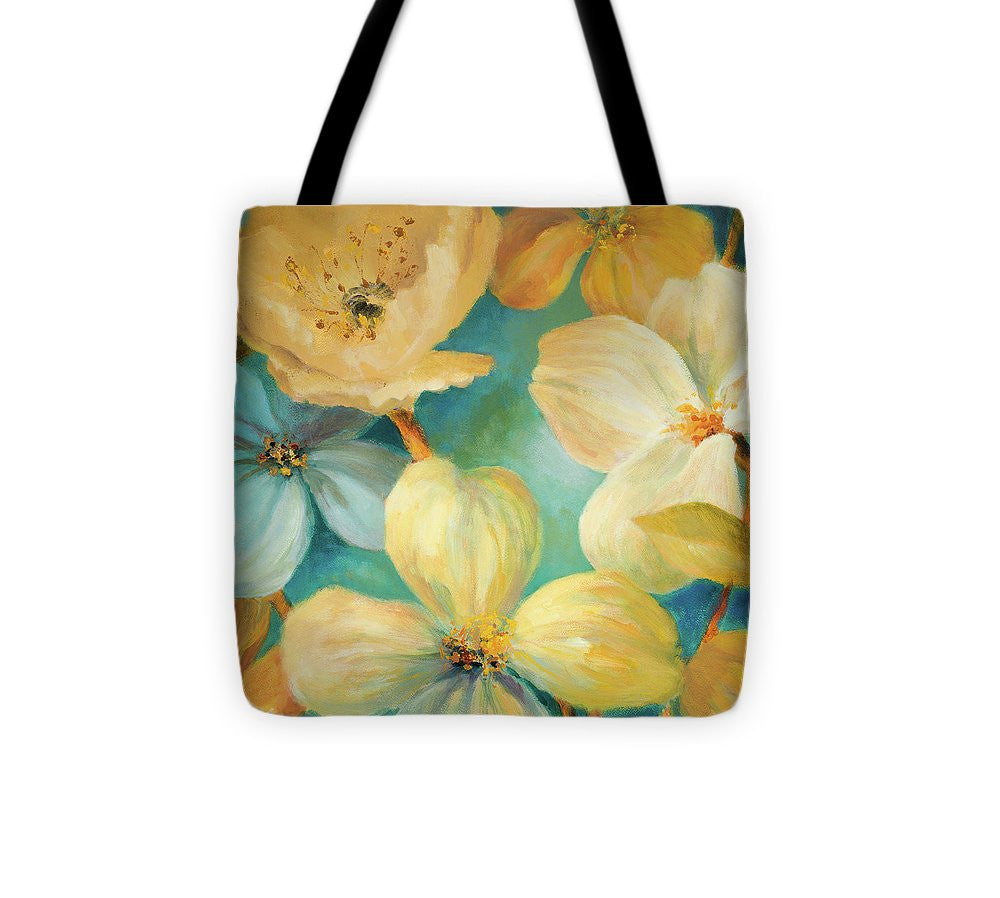 South Sea Lights Floral Square Tote Bag