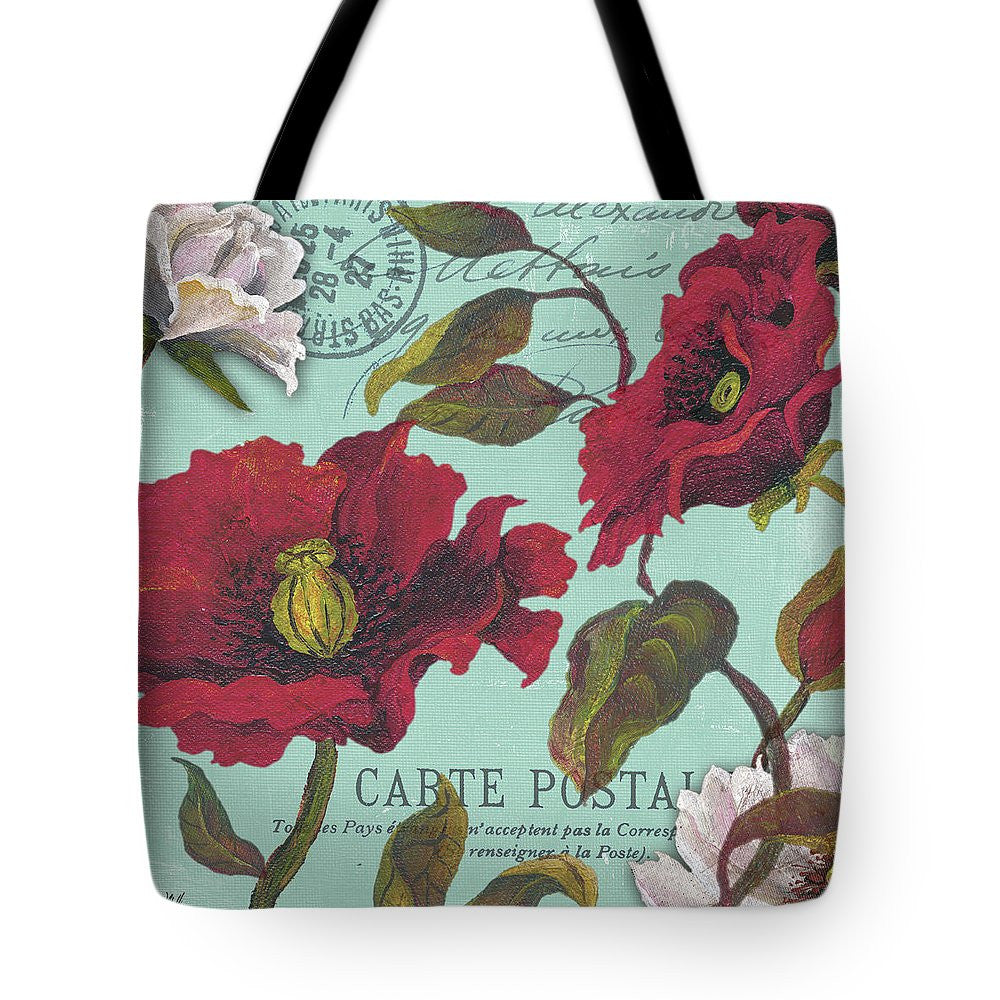 Paris Aqua Flowers I Tote Bag