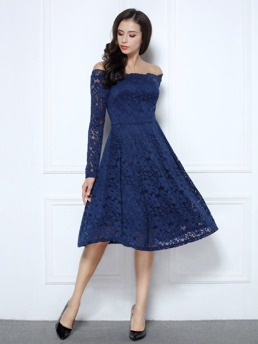 Vintage Floral Lace Cocktail Formal Party Dress