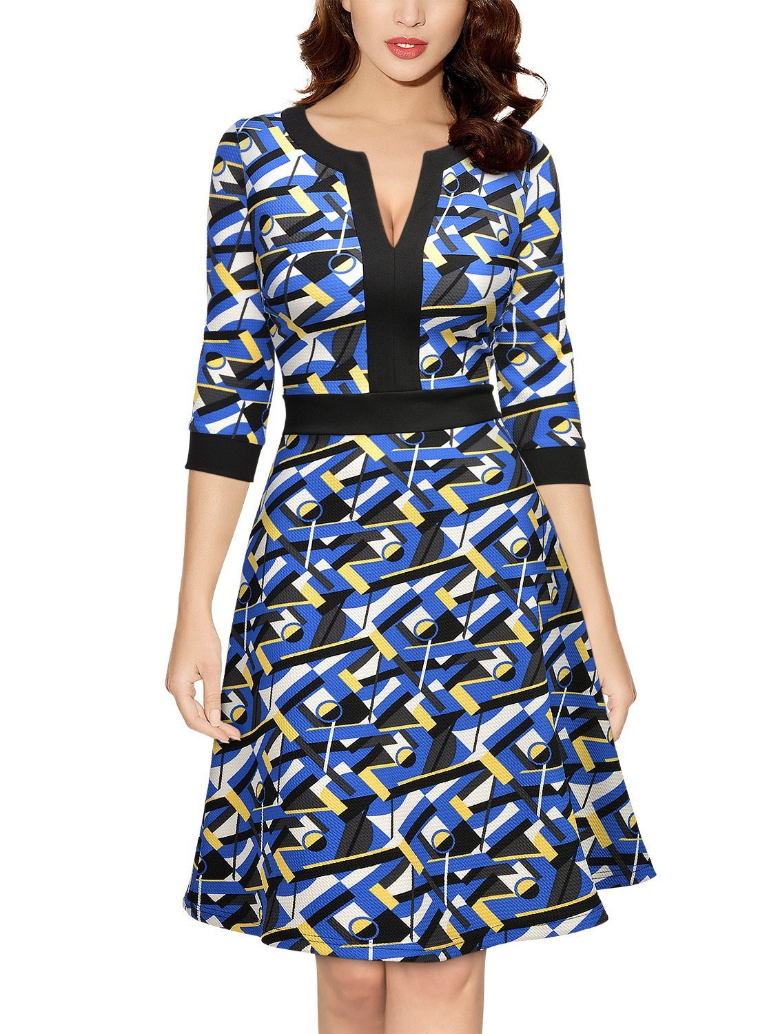 Women's Formal Optical Illusion Retro Business A-Line Dress