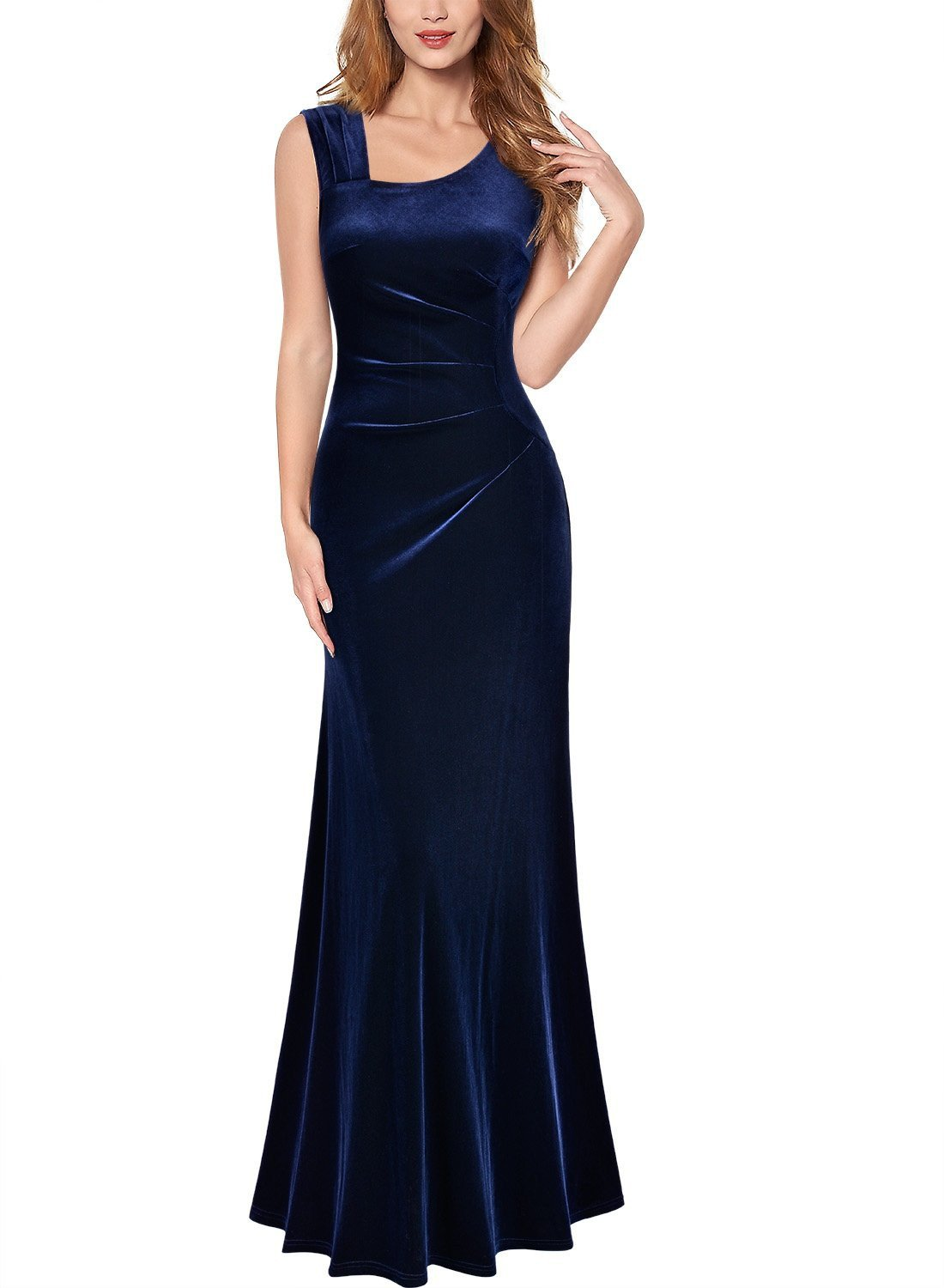 Sexy V Neck Pleuche Ruffles Formal Party Maxi Dress