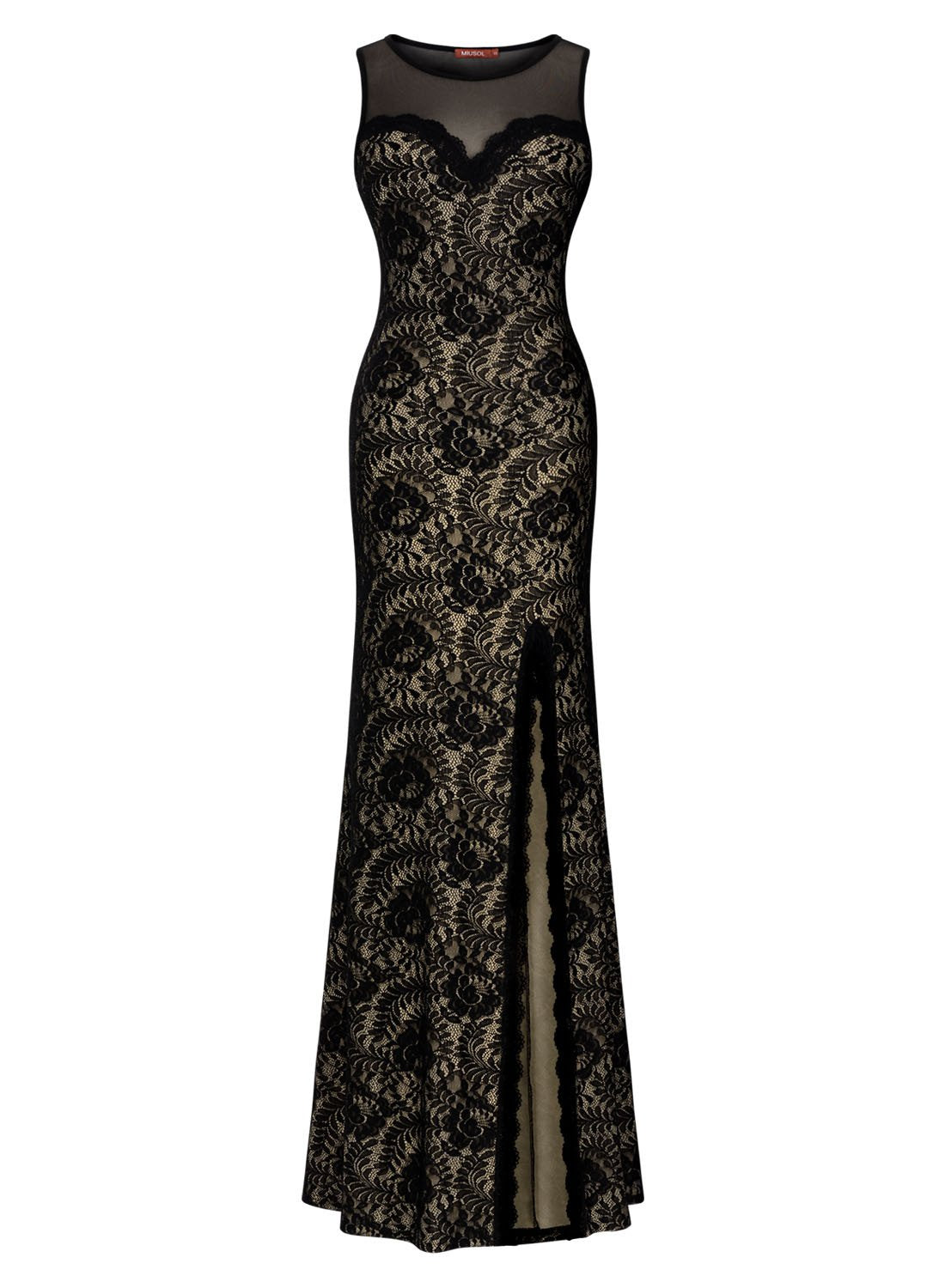 Black Lace Split Side Evening Formal Dress