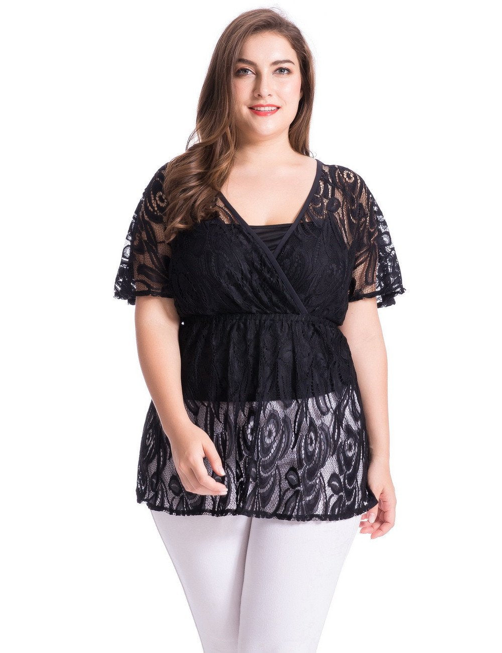 Chicwe Women's Plus Size Floral Lace Top Blouse with Jersey Cami 1X-4X