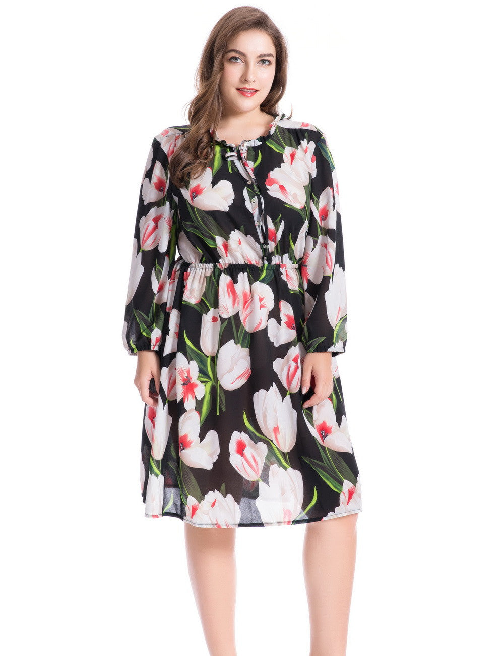 Chicwe Women's Plus Size Lily Floral Printed Dress Ruffled Collar with Split Neckline 1X-4X