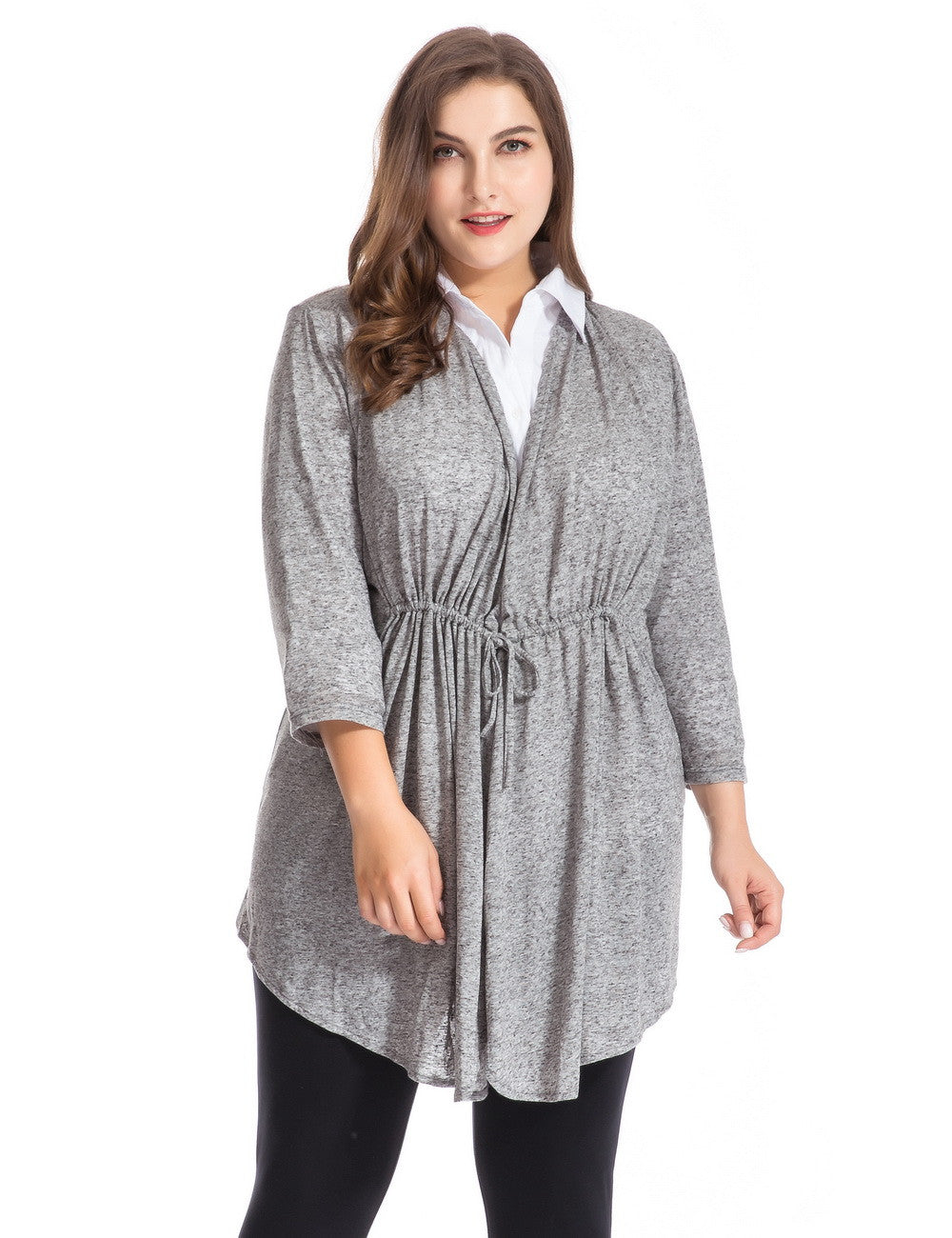 Chicwe Women's Plus Size Linen Jersey Bellini Cardigan Top 1X-4X