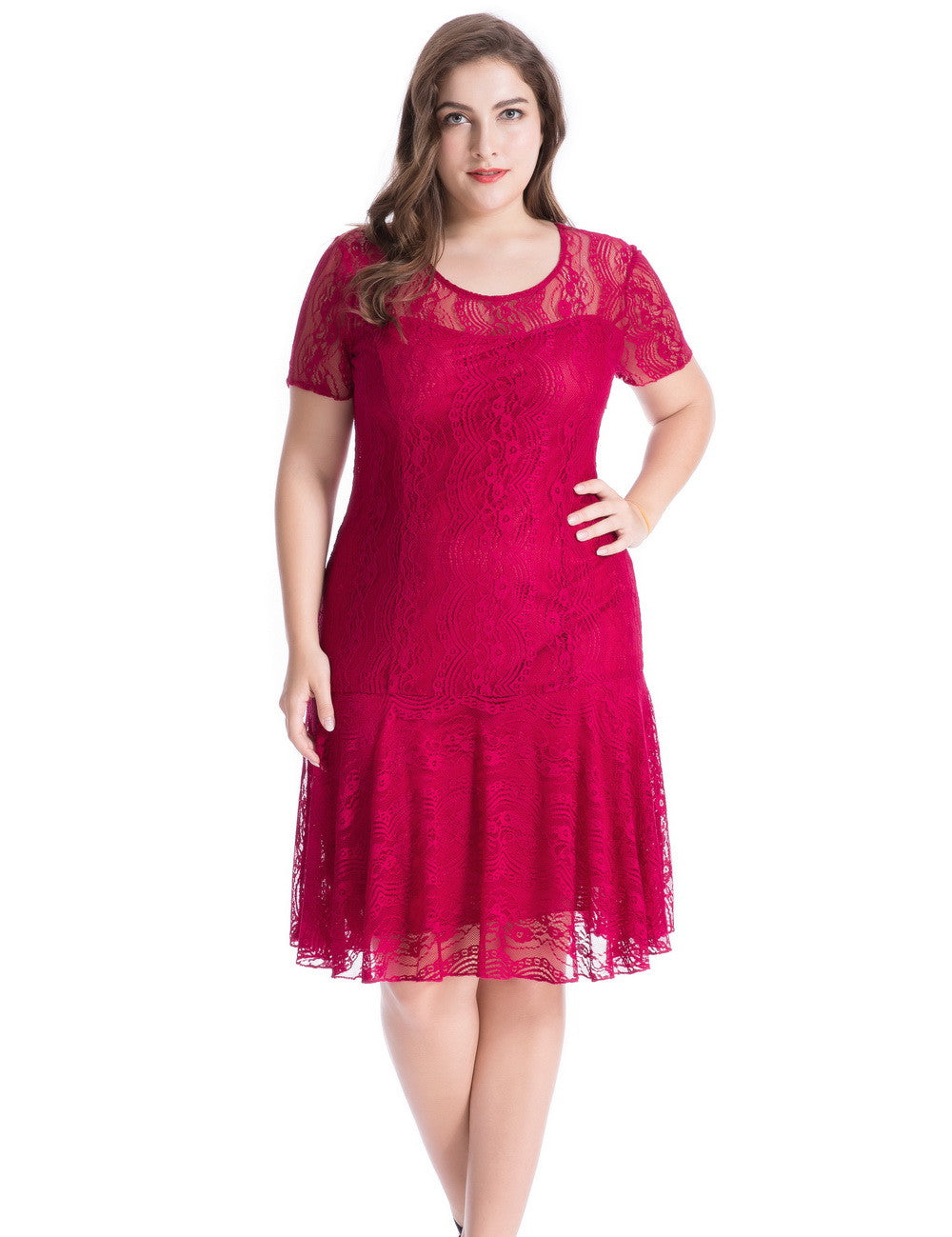 Chicwe Women's Plus Size Floral Lace Swinging Dress 1X-4X