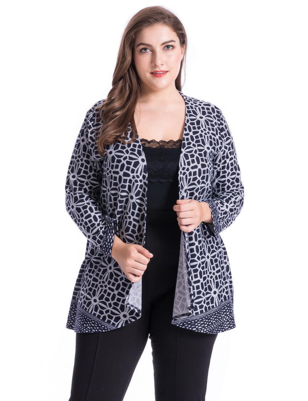 Chicwe Women's Cashmere Touch Plus Size Floral Print Casual Cardigan Jacket 1X-4X