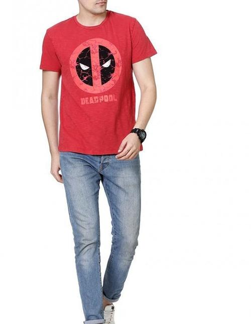 Deadpool Merc With A Mouth Red Half Sleeves Men