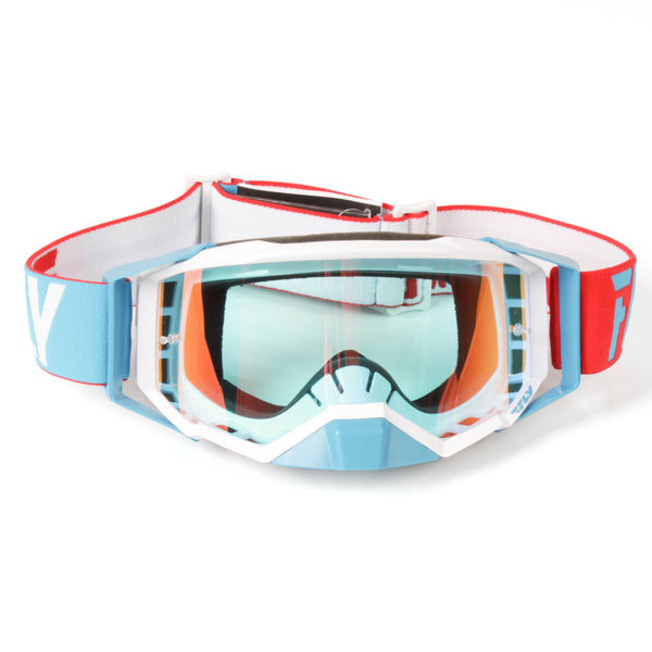 FLY GOGGLE '19 ZONE PRO RED/WHT/ BLU  RED MIR/CLR LENS
