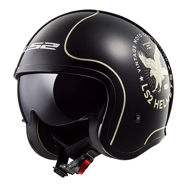 LS2 OF599 SPITFIRE HELMET - FLYER BLACK / GOLD