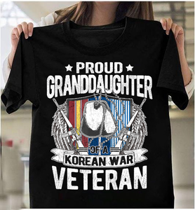 Proud Granddaughter Of A Korean War Veteran Military Family Gift T-Shirt - ATMTEE