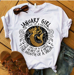 January Girl The Soul Of A Mermaid The Fire Of Lioness T-Shirt - ATMTEE