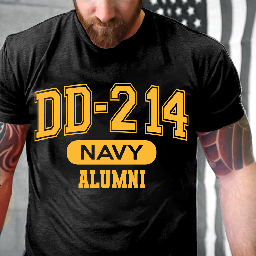 DD-214 US Navy Alumni, Gift For Navy Veterans T-Shirt - ATMTEE