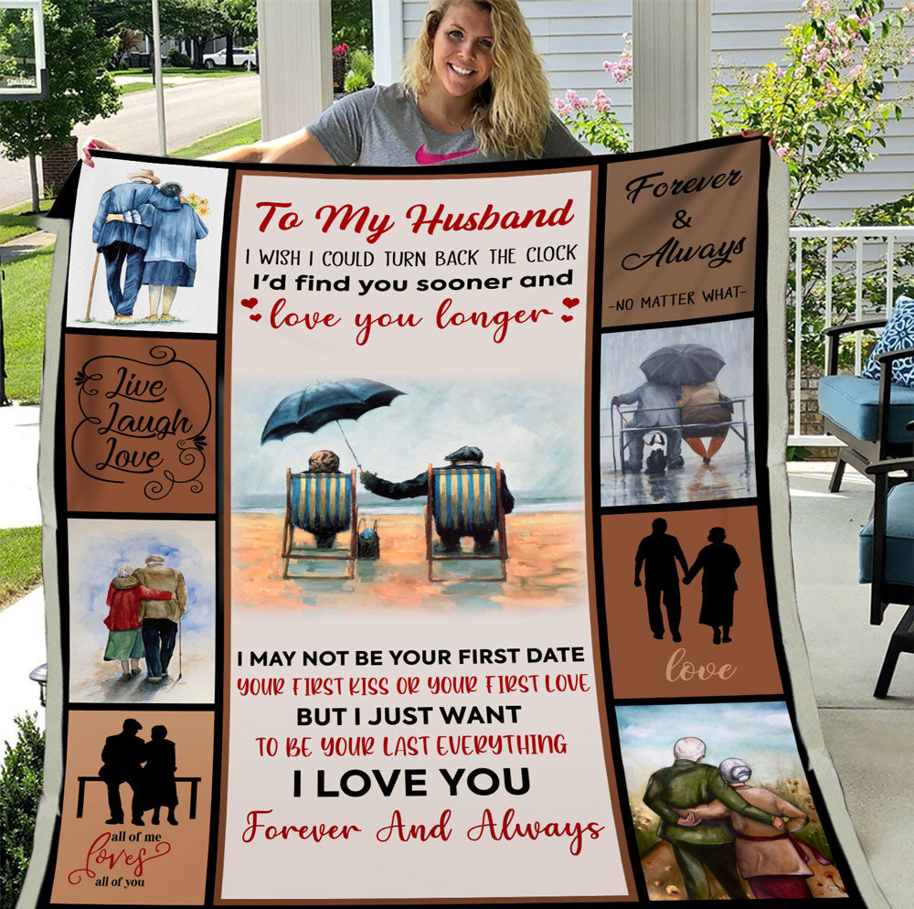 Personalized Blanket To My Husband I Wish I Could Turn Back The Clock, Gift For Husband Wife, Wedding Fleece Blanket - ATMTEE
