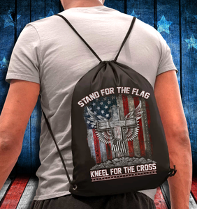 Stand For The Flag Kneel For The Cross Drawstring Bag - ATMTEE