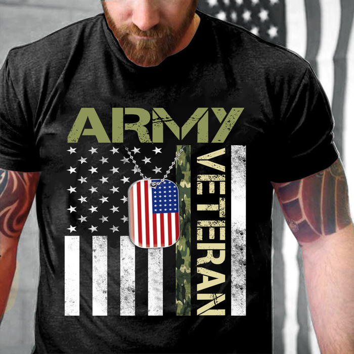 Army Veteran Shirt - American Flag Camo Proud Us Army Veteran T-Shirt - ATMTEE